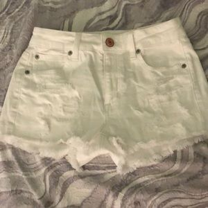 New American Eagle White frayed jean shorts